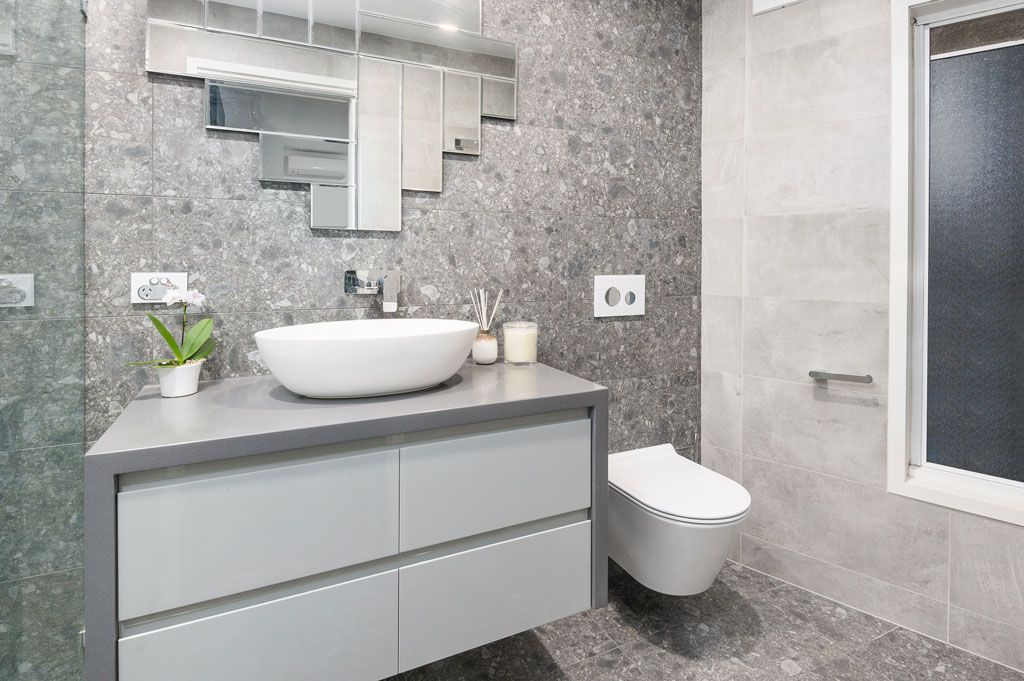 Bathroom Renovation Brisbane Grey Modern Style Bathroom Sink Bench & Toilet Seat