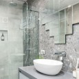 Bathroom Renovation Brisbane Grey Modern Style Bathroom Sink Bench & Glass Shower