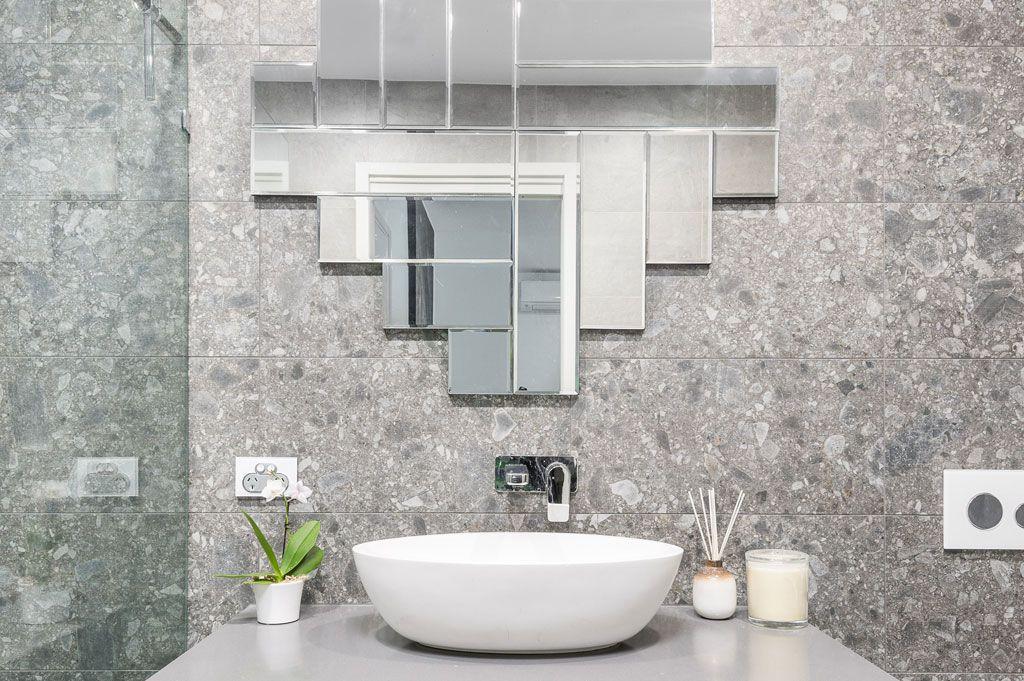 Bathroom Renovation Brisbane Grey Modern Style Bathroom Sink Bench Front View