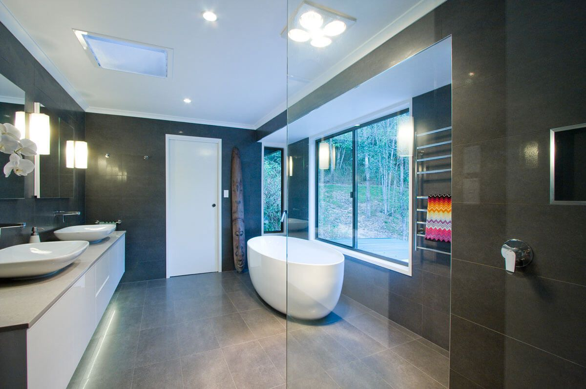 Bathroom Renovation Brisbane Dark Modern Style Bathroom With Shower Bench & Oval Shower Full View