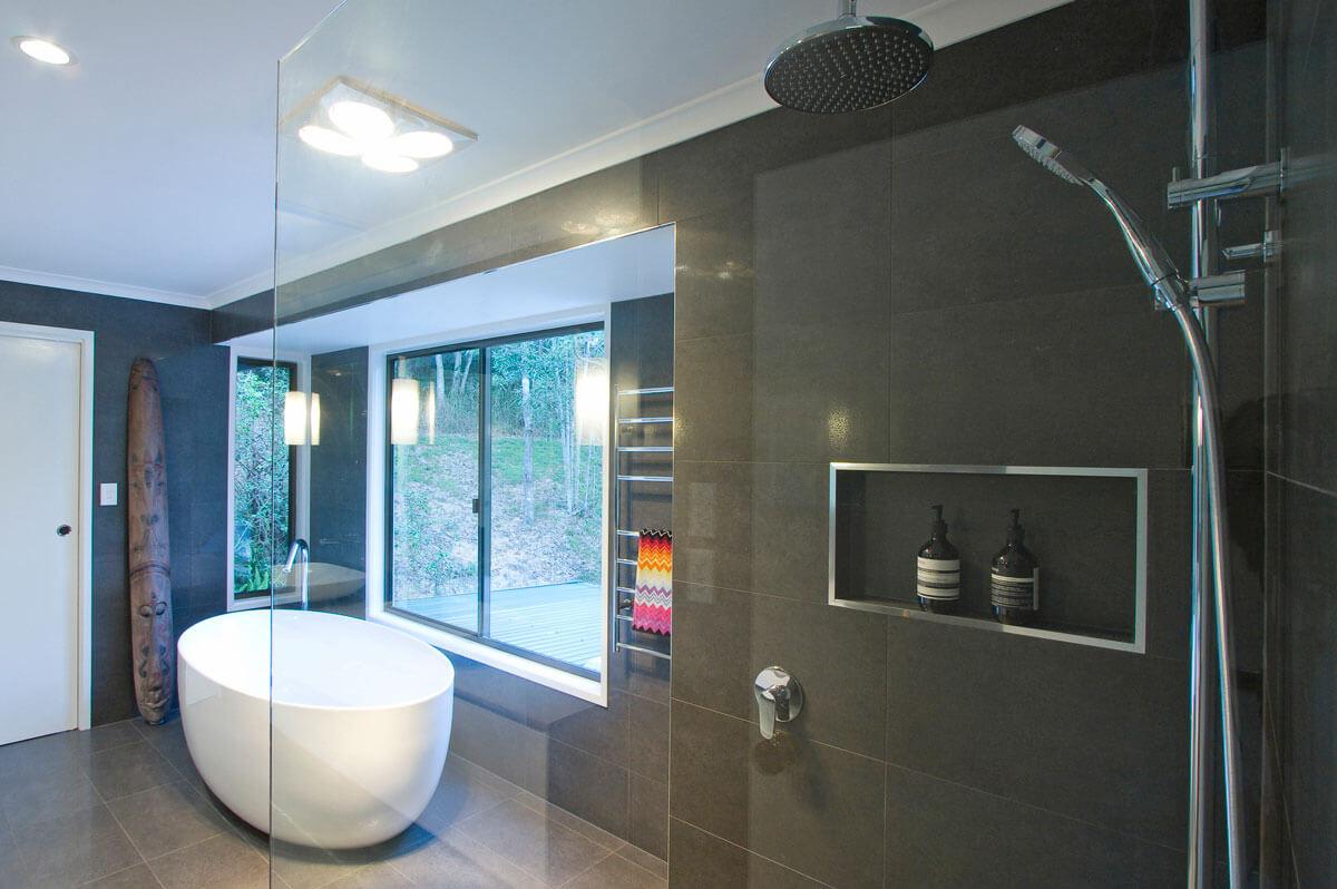 Bathroom Renovation Brisbane Dark Modern Style Wall with Oval Bathtub